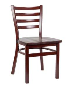 Metal Ladderback Side Chair in Mahogany