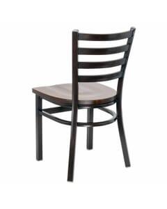 Metal Ladderback Side Chair in Walnut