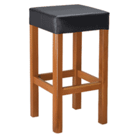 Italian Square Backless Barstool with Padded Seat