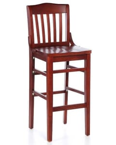 Elite Schoolhouse Barstool With Solid Wood Saddle Seat in Mahogany