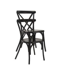 Stackable Black Metal Cross-Back Indoor/Outdoor Chair