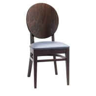 Solid Beech Wood Round Back Restaurant Chair with Upholstered Seat