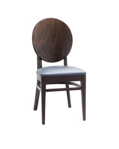 Espresso Wood Round Back Restaurant Chair with Upholstered Seat (front)