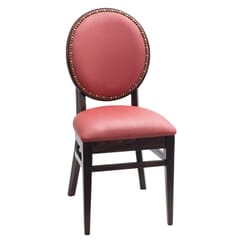Fully Upholstered Solid Wood Round Back Restaurant Chair with Nail-head Trim (front)
