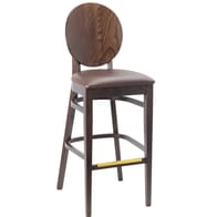 Solid Beech Wood Round Back Restaurant Bar Stool with Upholstered Seat