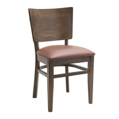 Walnut Solid Wood Square Back Restaurant Chair with Upholstered Seat (front)