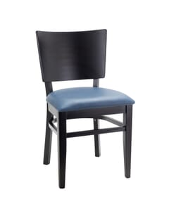 Solid Wood Square Back Restaurant Chair with Upholstered Seat