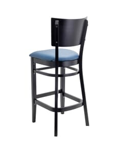 Solid Wood Square Back Restaurant Bar Stool with Upholstered Seat