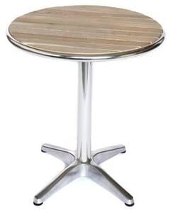 Round Teak & Aluminum Patio Table