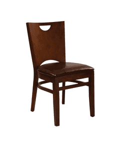 European Beechwood Commercial Chair with Upholstered Seat in Walnut  (Front)