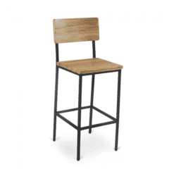 Reclaimed Wood Bar Stool with Steel Frame in Natural