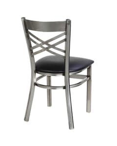 Clear Coat Distressed Finish Metal Double Cross Back Side Chair