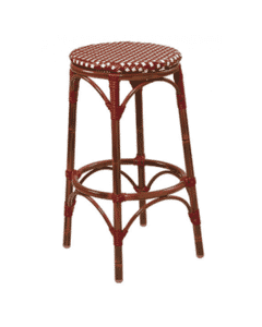 Aluminum Bamboo Look Backless Bar Stool in Mahogany Finish