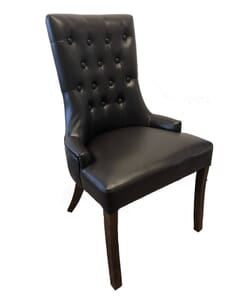 Fully Upholstered Vinyl Dining Chair with Tufted Back