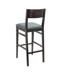 Solid Beechwood Square Back Upholstered Bar Stool