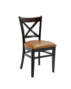 Espresso Wood Cross-back Commercial Dining Chair (Front)
