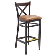 Solid Beech Wood Cross-back Commercial Dining Bar Stool