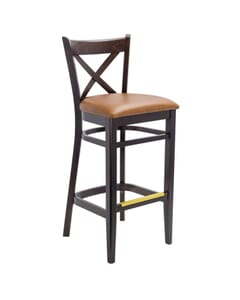 Espresso Wood Cross-back Commercial Dining Bar Stool (Front)