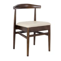 Stackable Upholstered Antique Look Elm Wood Chair
