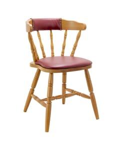 Upholstered Back Captain Mate Chair in Honey Oak (front)