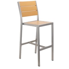 Tan Synthetic Wood Barstool with Brushed Aluminum Frame (front)