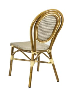 Aluminum Frame Bamboo Look Outdoor Chair with Rounded Back