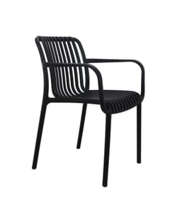 Stackable Striped Seat and Back Outdoor Resin Chair with Arms in Black