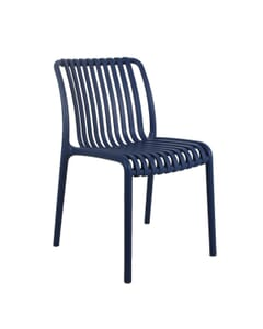 Striped Seat and Back Stackable Outdoor Resin Chair in Blue