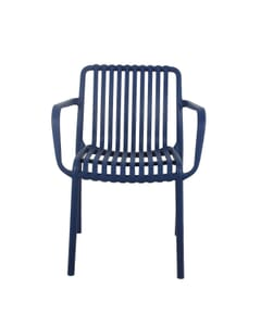 Stackable Striped Seat and Back Outdoor Resin Chair with Arms in Blue