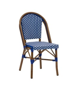 Curved-Back Synthetic Wicker & Bamboo Commercial Outdoor Chair (Front)