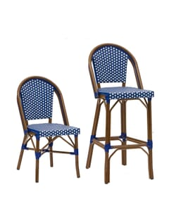 Synthetic Wicker & Bamboo Commercial Outdoor Chair in Blue and White