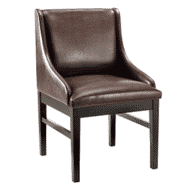 Fully Upholstered Black Wood Restaurant Chair with Brown Vinyl Seat, Back, and Sides