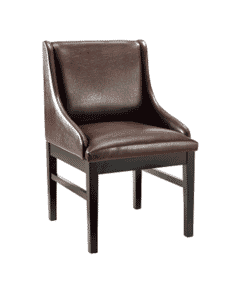 Fully Upholstered Black Wood Restaurant Chair with Brown Vinyl Seat, Back, and Sides (Front)