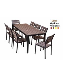 Brushed Brown Teaks & Black Frame Table Set