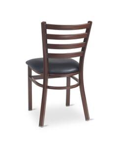 Metal Ladderback Side Chair in Dark Mahogany