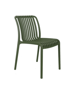 Striped Seat and Back Stackable Outdoor Resin Chair in Green