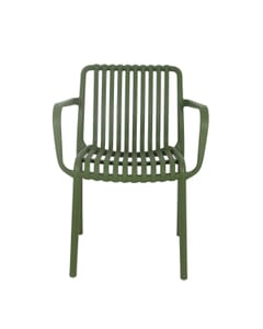 Stackable Striped Seat and Back Outdoor Resin Chair with Arms in Green
