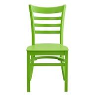 Stackable Ladderback Indoor/Outdoor Restaurant Chair in Lime Green
