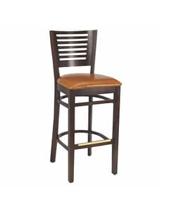 Narrow-Slat Back Bar Stool in Walnut (Front)