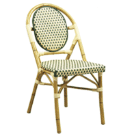 Aluminum Bamboo Look Stackable Chair in Natural