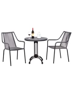Stackable Roped Outdoor Chair with Arms and Black Aluminum Frame in Grey