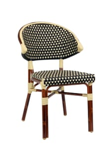 Rounded Back Aluminum Bamboo Look Chair (Front)