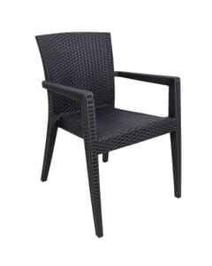 Curved-Back Dark Gray Synthetic Wicker Restaurant Chair with Arms - Front View