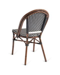 Synthetic Wicker & Bamboo Commercial Outdoor Chair in Black and White