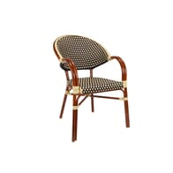 Rounded Back Stackable Aluminum Bamboo Look Arm Chair