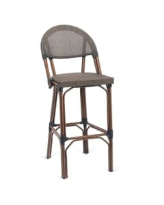 Synthetic Bamboo & Textilene Mesh Commercial Outdoor Bar Stool (Front)