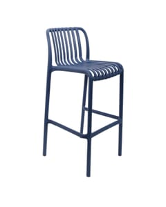 Striped Seat and Back Resin Outdoor Bar Stool in Blue