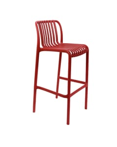 Striped Seat and Back Resin Outdoor Bar Stool in Red