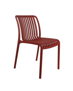 Striped Seat and Back Stackable Outdoor Resin Chair in Red