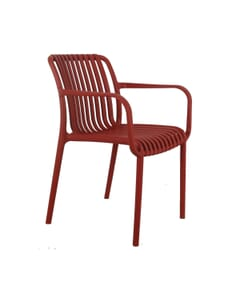 Stackable Striped Seat and Back Outdoor Resin Chair with Arms
